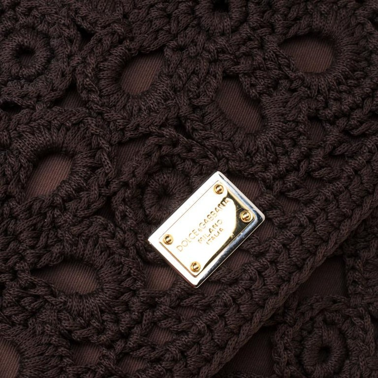 Dolce and Gabbana Brown Crochet Fabric Large Miss Sicily Top Handle Bag For Sale 6