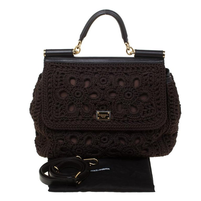 Dolce and Gabbana Brown Crochet Fabric Large Miss Sicily Top Handle Bag For Sale 7