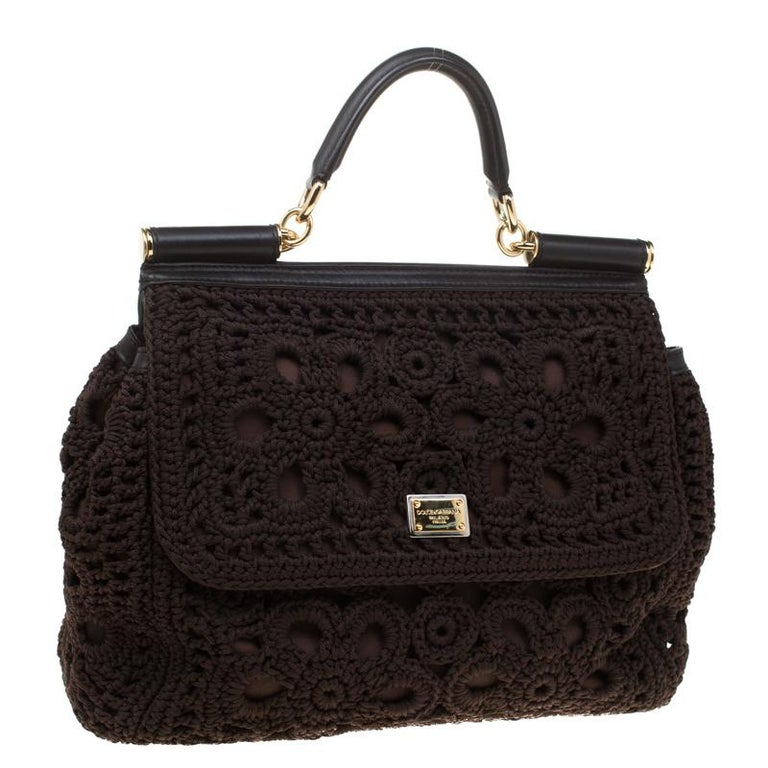 Women's Dolce and Gabbana Brown Crochet Fabric Large Miss Sicily Top Handle Bag For Sale