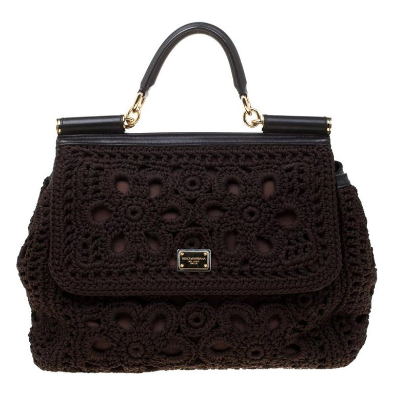 Dolce and Gabbana Brown Crochet Fabric Large Miss Sicily Top Handle Bag For Sale