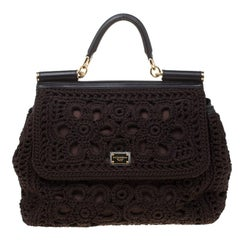 Dolce and Gabbana Brown Crochet Fabric Large Miss Sicily Top Handle Bag