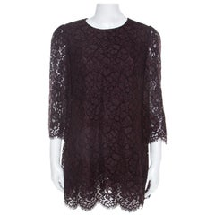 Dolce and Gabbana Brown Lace Three Quarter Sleeve Tunic Top M