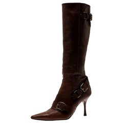 Dolce and Gabbana Brown Leather Buckle Detail Tall Pointed Boots Size 37