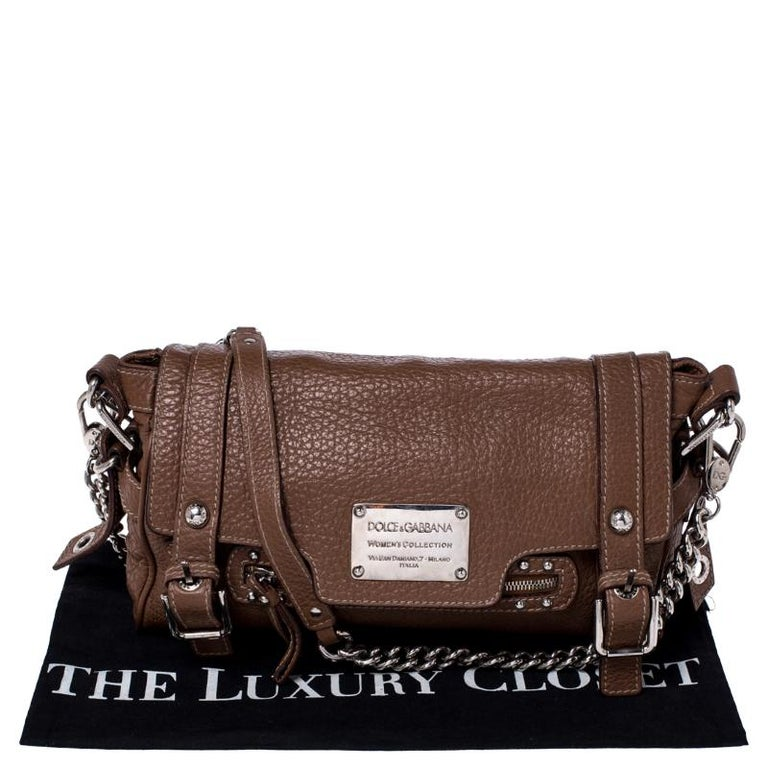 Dolce and Gabbana Brown Leather Easy Way Satchel For Sale 8