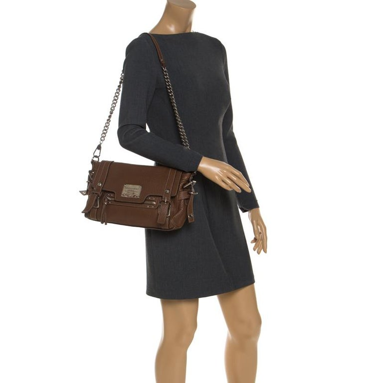 Dolce and Gabbana Brown Leather Easy Way Satchel In Good Condition For Sale In Dubai, Al Qouz 2