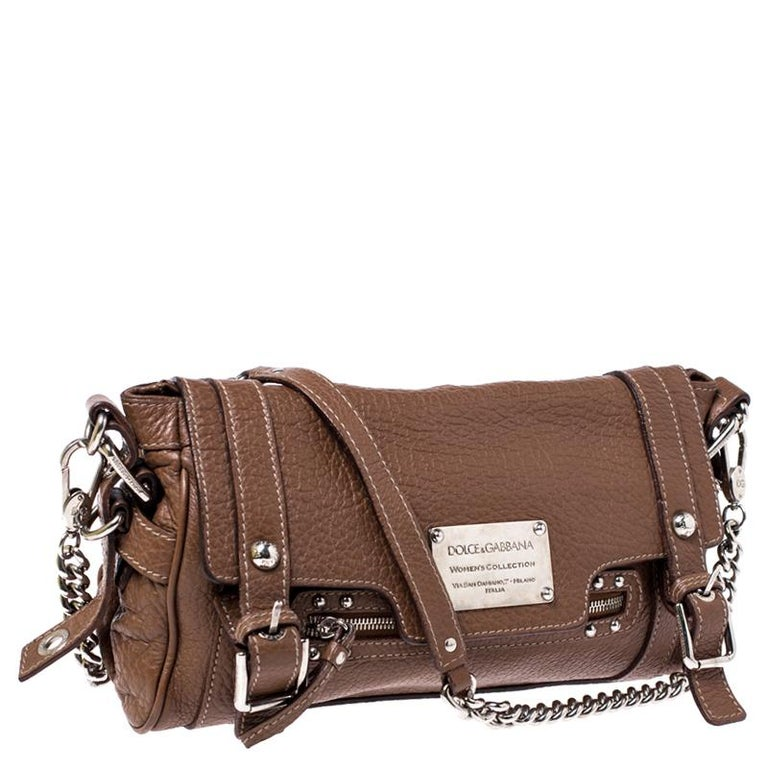 Women's Dolce and Gabbana Brown Leather Easy Way Satchel For Sale