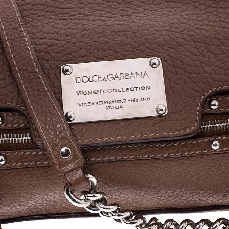 Dolce and Gabbana Brown Leather Easy Way Satchel For Sale 3