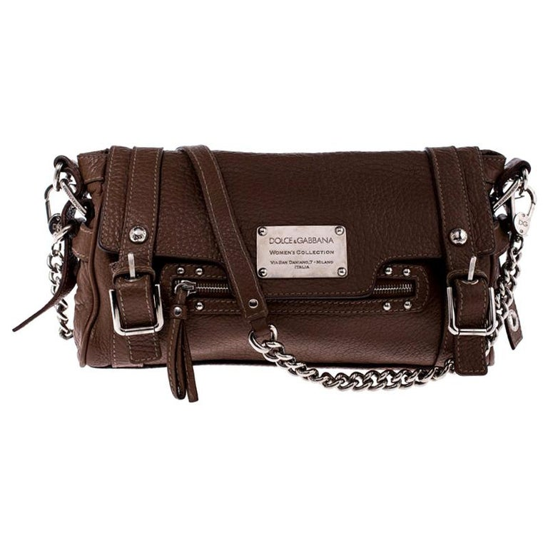 Dolce and Gabbana Brown Leather Easy Way Satchel For Sale