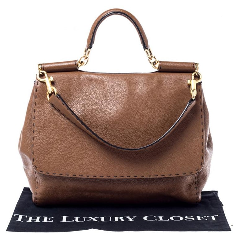 Dolce and Gabbana Brown Leather Large Miss Sicily Top Handle Bag For Sale 7