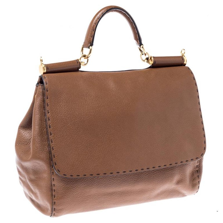 Women's Dolce and Gabbana Brown Leather Large Miss Sicily Top Handle Bag For Sale
