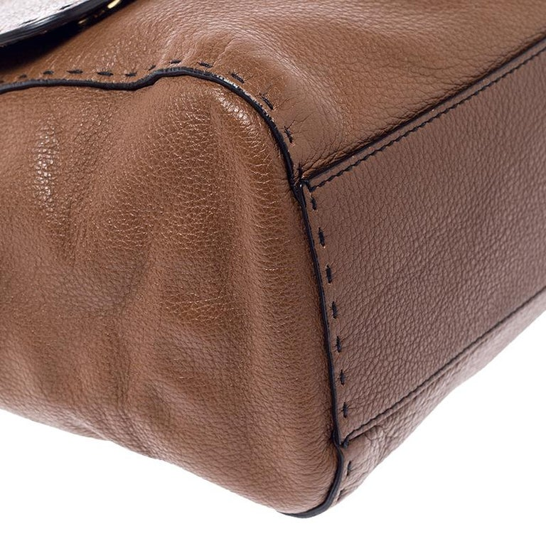 Dolce and Gabbana Brown Leather Large Miss Sicily Top Handle Bag For Sale 5