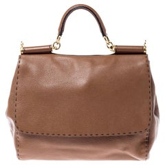Dolce and Gabbana Brown Leather Large Miss Sicily Top Handle Bag