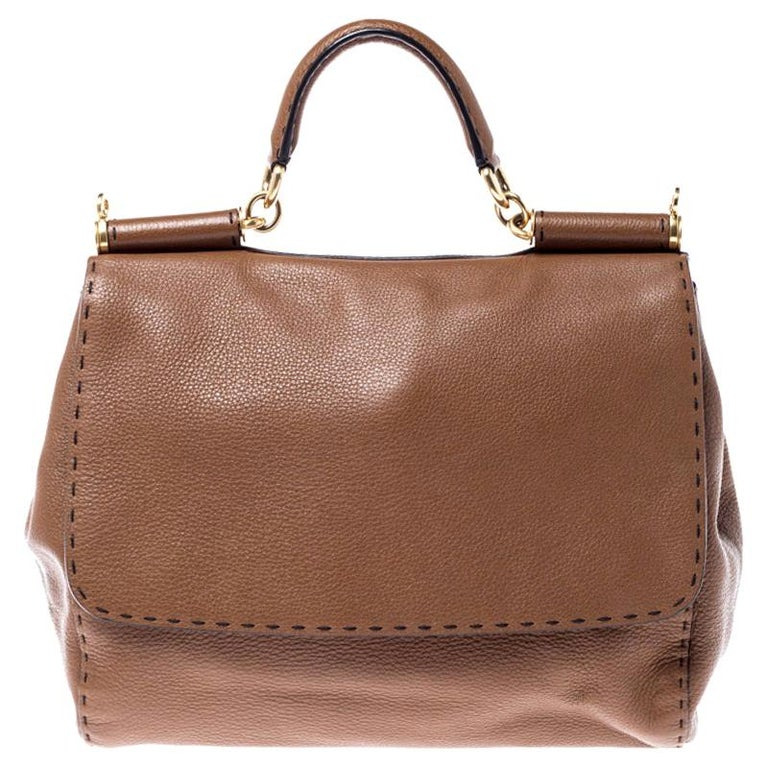 Dolce and Gabbana Brown Leather Large Miss Sicily Top Handle Bag For Sale