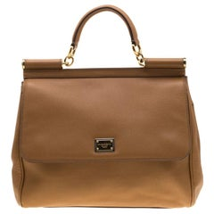 Dolce and Gabbana Brown Leather Large Miss Sicily Tote