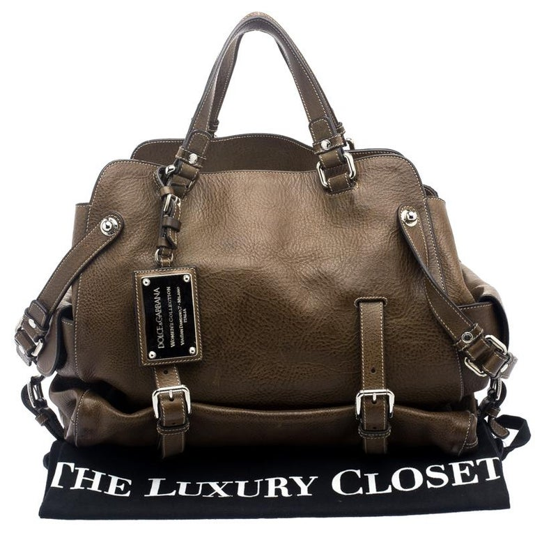 Dolce and Gabbana Brown Leather Miss Forever Tote For Sale 7