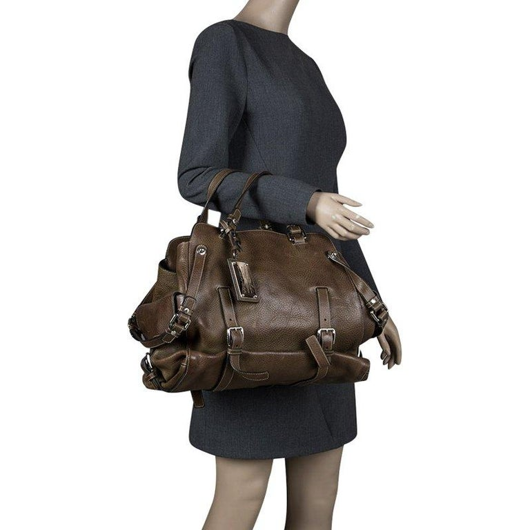 Dolce and Gabbana Brown Leather Miss Forever Tote In Good Condition For Sale In Dubai, Al Qouz 2