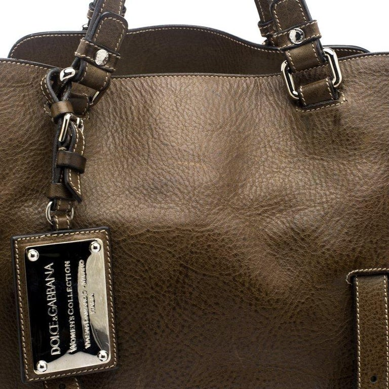 Dolce and Gabbana Brown Leather Miss Forever Tote For Sale 1