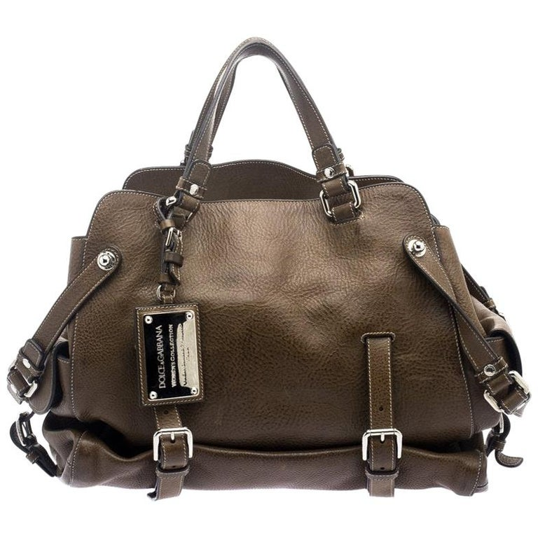 Dolce and Gabbana Brown Leather Miss Forever Tote For Sale