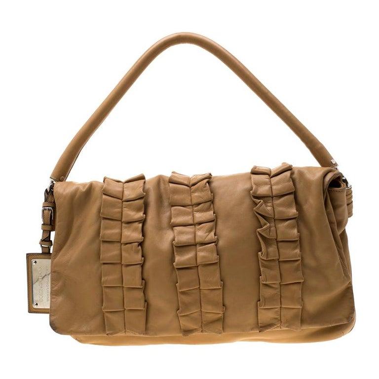 Dolce and Gabbana Brown Leather Miss Lexington Shoulder Bag
