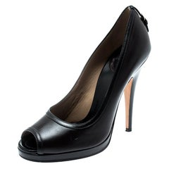 Dolce And Gabbana Brown Leather Peep Toe Pumps Size 40
