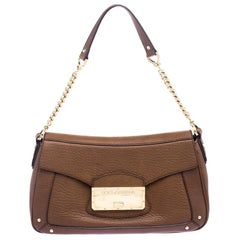 Dolce and Gabbana Brown Leather Shoulder Bag