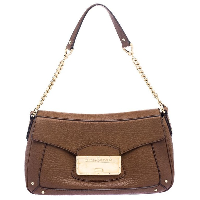 Dolce and Gabbana Brown Leather Shoulder Bag For Sale at 1stdibs 2b2c2f8821b18