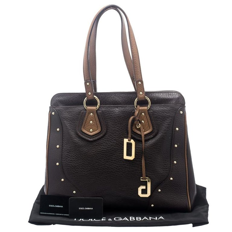 Dolce and Gabbana Brown Leather Studded Tote For Sale 7