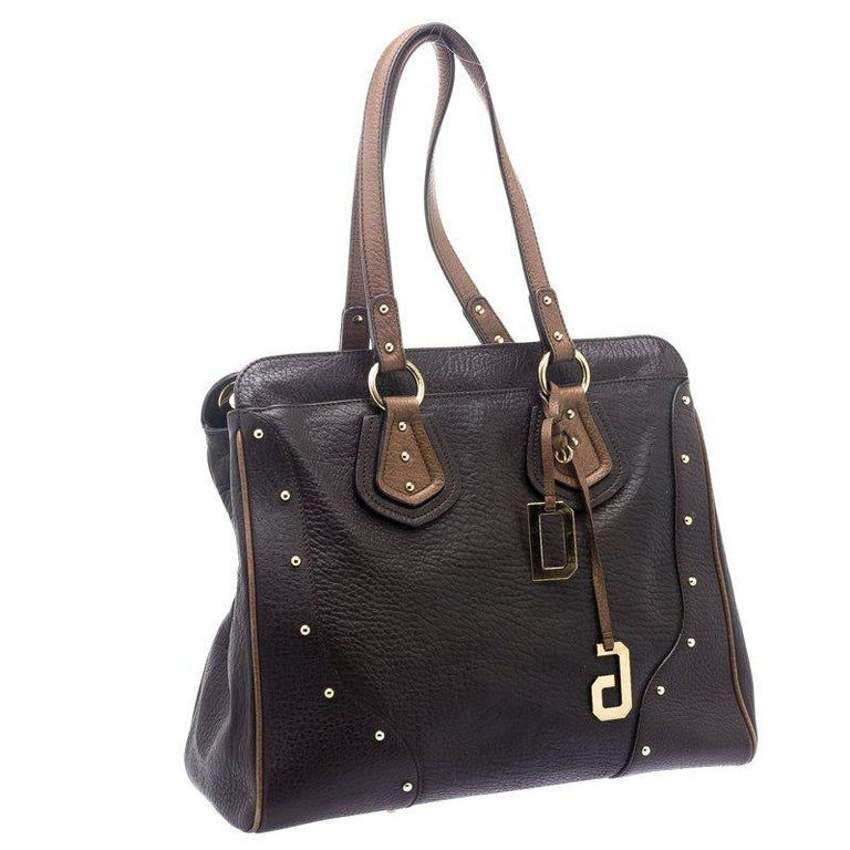 Women's Dolce and Gabbana Brown Leather Studded Tote For Sale