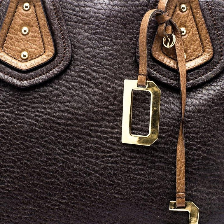 Dolce and Gabbana Brown Leather Studded Tote For Sale 4