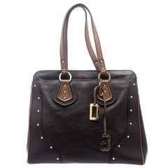 Dolce and Gabbana Brown Leather Studded Tote
