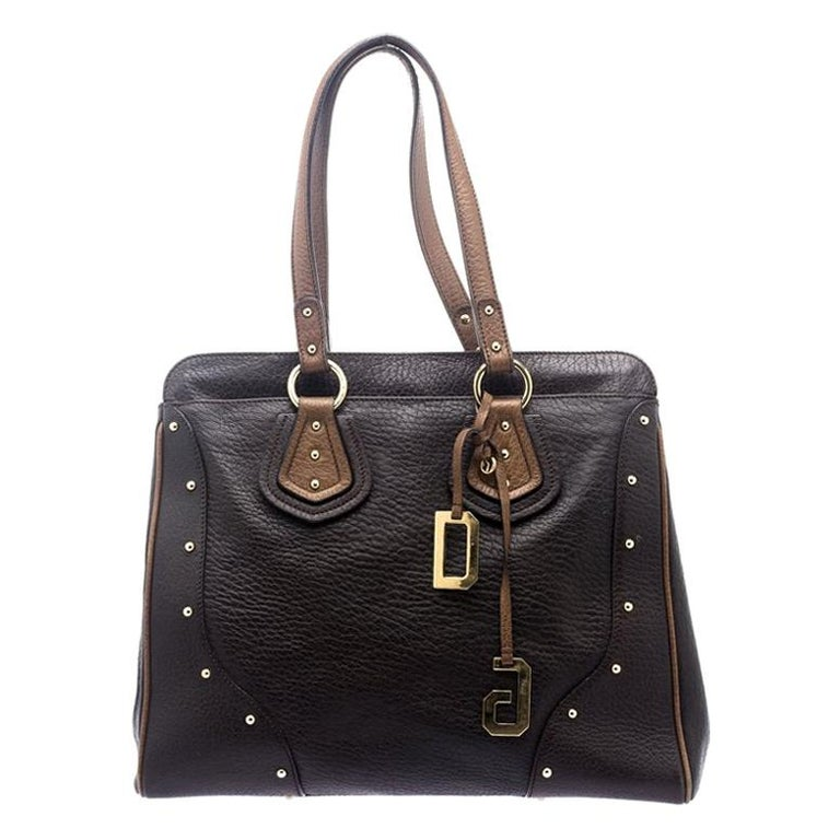 Dolce and Gabbana Brown Leather Studded Tote For Sale