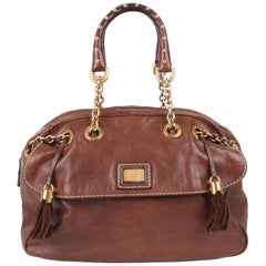 Dolce and Gabbana Brown Leather Tassle Chain Handbag