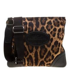Dolce and Gabbana Brown Leopard Print Canvas Crossbody Bag