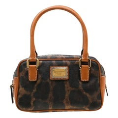 Dolce and Gabbana Brown Leopard Print Coated Canvas and Leather Satchel