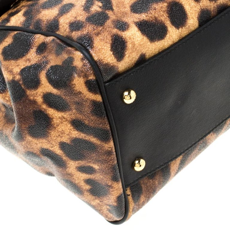 Dolce and Gabbana Brown Leopard Print Coated Canvas Large Miss Sicily Top Handle For Sale 5