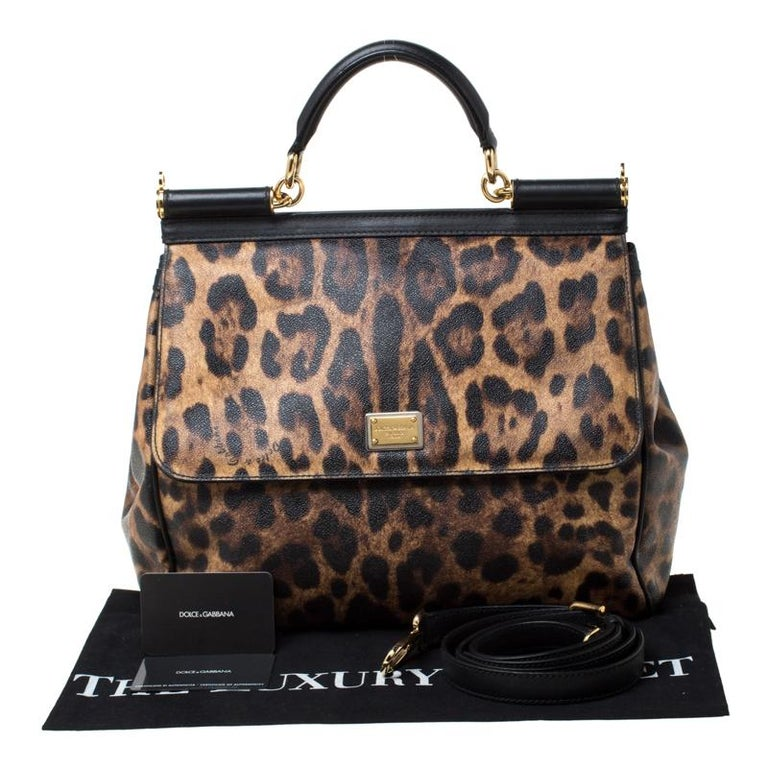 Dolce and Gabbana Brown Leopard Print Coated Canvas Large Miss Sicily Top Handle For Sale 6