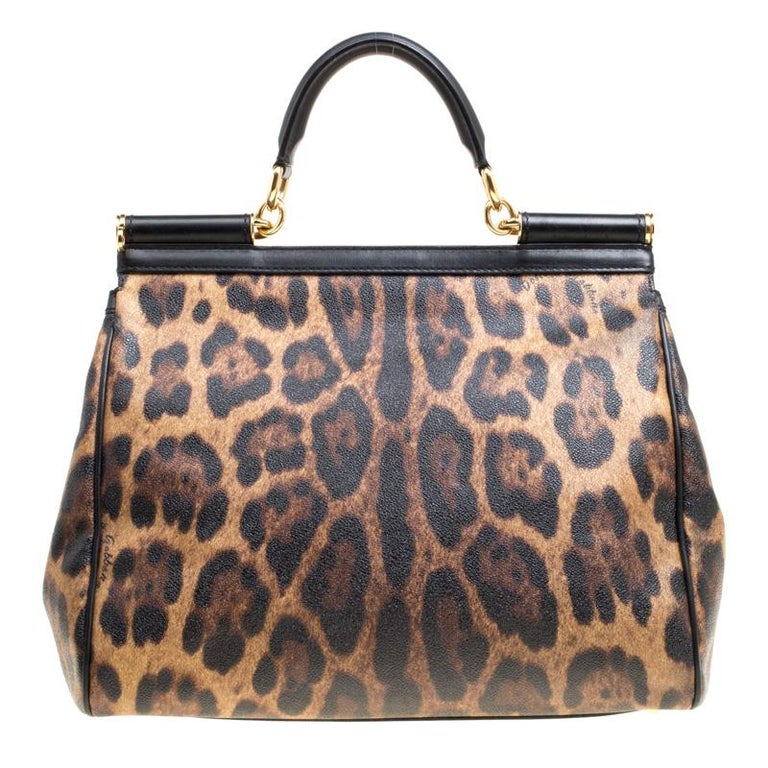 The Miss Sicily tote is one of the most celebrated creations from Dolce&Gabbana. The tote beautifully embodies the spirit of extravagance and feminity that the Italian luxury brand carries. Crafted from leopard-printed canvas, the bag has a