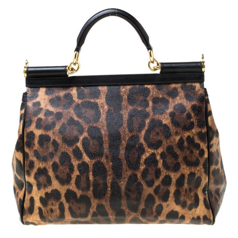 The Miss Sicily tote is one of the most celebrated creations from Dolce & Gabbana. The tote beautifully embodies the spirit of extravagance and feminity that the Italian luxury brand carries. Crafted from leopard-printed canvas, the bag has a