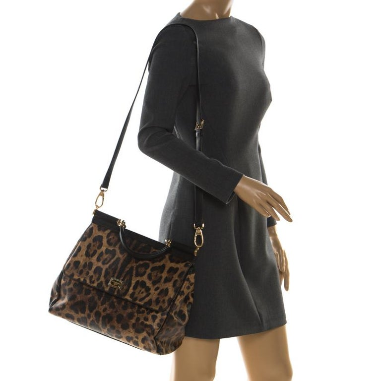 Black Dolce and Gabbana Brown Leopard Print Coated Canvas Large Miss Sicily Top Handle For Sale