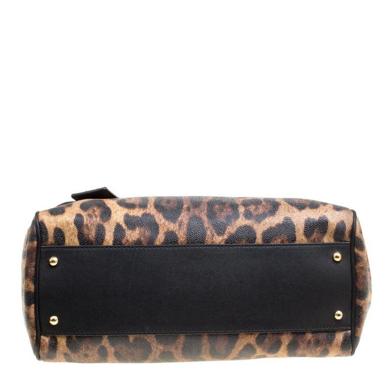 Dolce and Gabbana Brown Leopard Print Coated Canvas Large Miss Sicily Top Handle In Good Condition For Sale In Dubai, Al Qouz 2