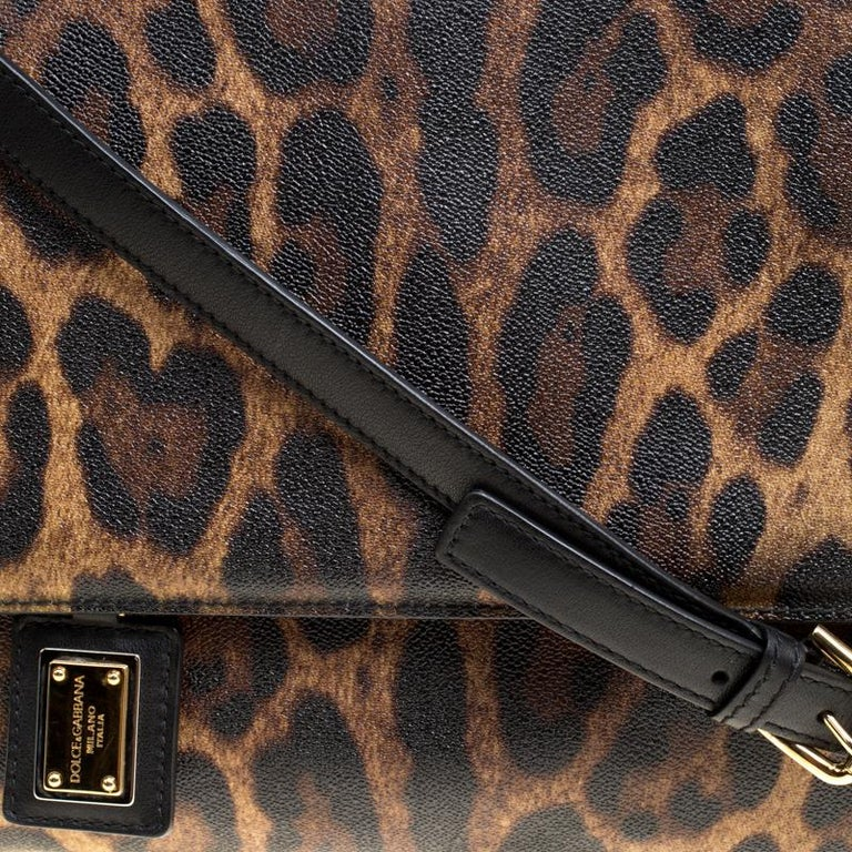 Women's Dolce and Gabbana Brown Leopard Print Coated Canvas Large Miss Sicily Top Handle For Sale