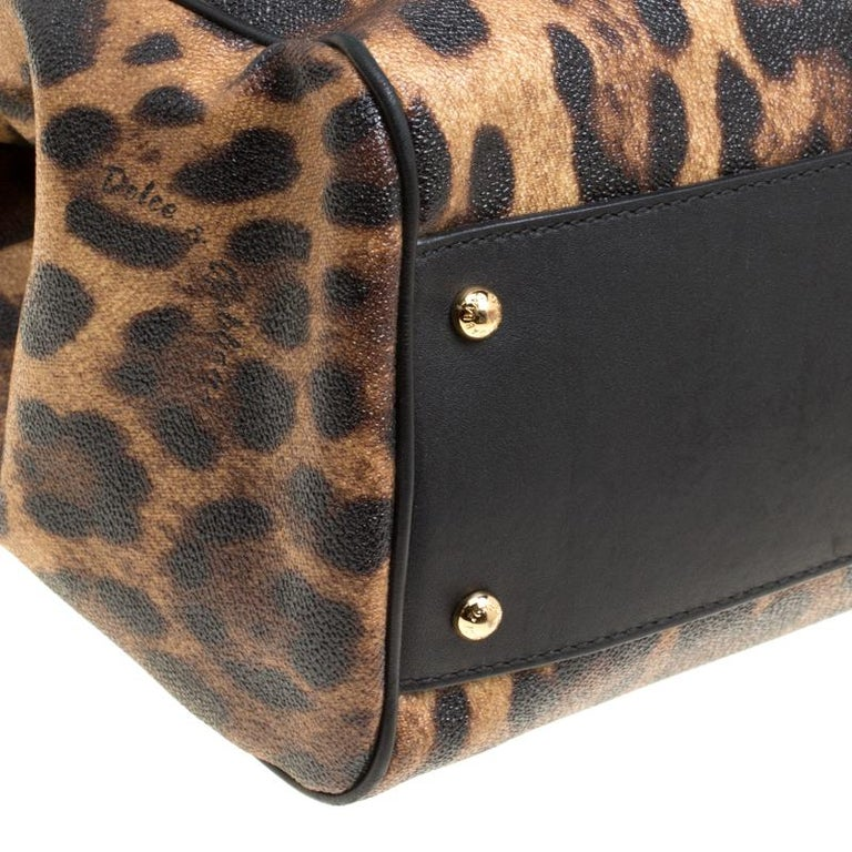 Dolce and Gabbana Brown Leopard Print Coated Canvas Large Miss Sicily Top Handle For Sale 3