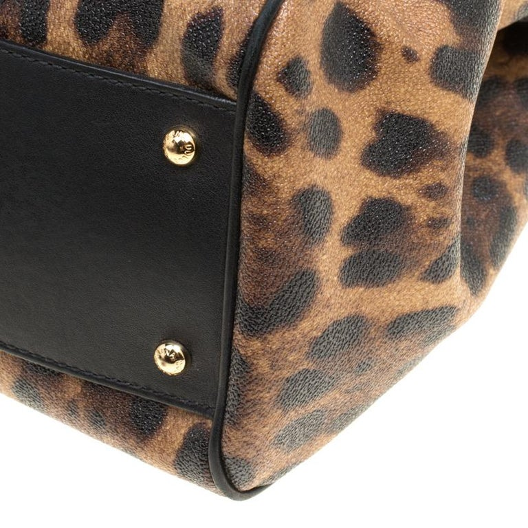 Dolce and Gabbana Brown Leopard Print Coated Canvas Large Miss Sicily Top Handle For Sale 4