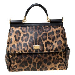 Dolce and Gabbana Brown Leopard Print Coated Canvas Large Miss Sicily Top Handle