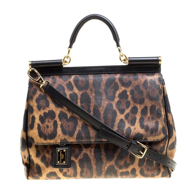 Dolce and Gabbana Brown Leopard Print Coated Canvas Large Miss Sicily Top Handle For Sale