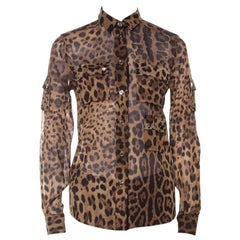Dolce and Gabbana Brown Leopard Print Cotton and Silk Button Front Shirt S