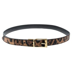 Dolce and Gabbana Brown Leopard Print Leather Belt 85cm