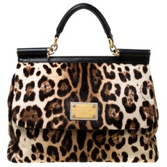 Dolce and Gabbana Brown Leopard Print Leather Large Miss Sicily Top Handle Bag