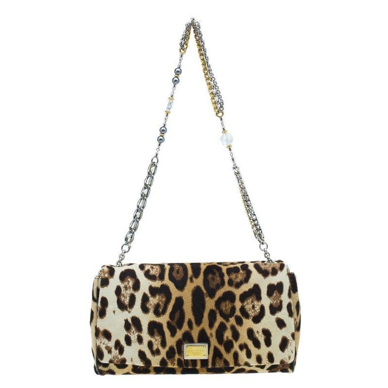 86e65a5595d7 Dolce and Gabbana Brown Leopard Print Pony Hair Charles Shoulder Bag For  Sale