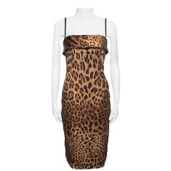 Dolce and Gabbana Brown Leopard Printed Satin Sheath Dress S